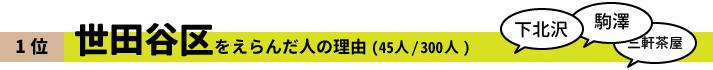 1位 世田谷区をえらんだ人の理由(45人/300人)