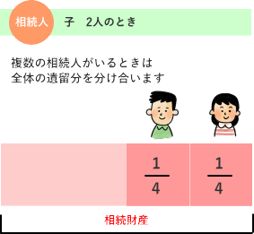 子ども2人が相続人のときの遺留分のわけかた 解説図
